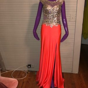 Coral And Silver Sequined Prom Dress